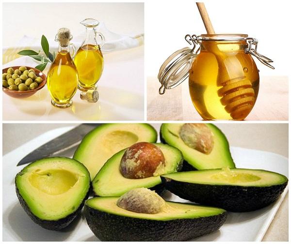 Bơ, dầu oliu và mật ong đều là những nguyên liệu lành tính có tác dụng chống lão hóa
